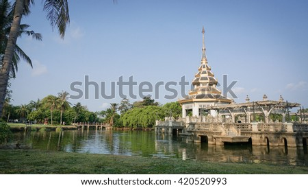 pagoda on middle of a lake  at Chalerm Prakiat park in Nonthaburi province, Thailand,public park