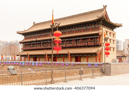 Pagoda on the Xian City Wall. Fortifications of Xi'an and Xi'an City Wall. UNESCO World Heritage - stock photo