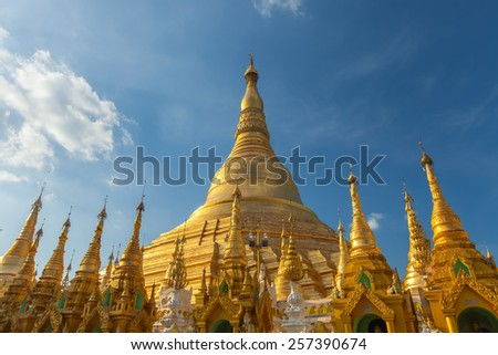 Pagoda shwedagon golden pagoda in Myanmar. - stock photo