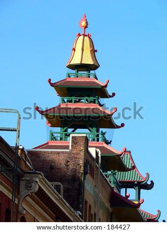 Pagoda topped building - stock photo