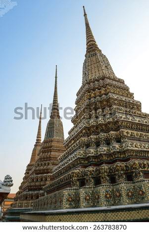 Pagoda Wat Pho temple,Bangkok in Thailand - stock photo