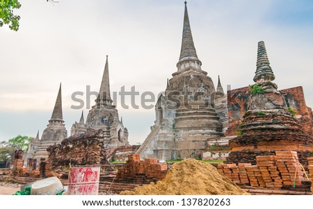 Pagodas are being repaired due to the heavy flood in 2011, Ayutthaya, Thailand