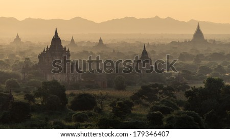 Pagodas in Bagan during sunrise