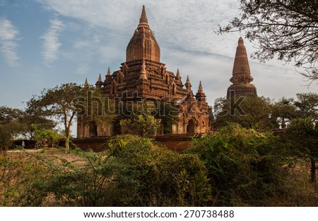 Pagodas in Burma. Old Bagan has thousands of Buddhist temple ruins of considerable historic significance. Ideal destination for tourists and travelers to Myanmar.  - stock photo