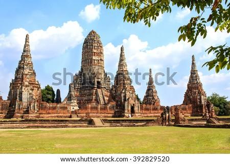 Pagodas of temple Wat Chai Watthanaram in Ayutthaya Historical Park, Thailand  - stock photo