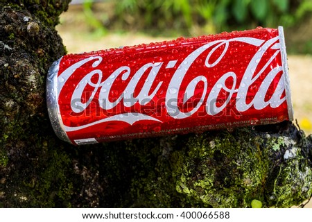 PAHANG, MALAYSIA - APRIL 2, 2016. Coca cola drink close up. Coca cola drinks are produced and manufactured by The Coca-Cola Company, an American multinational beverage corporation. - stock photo