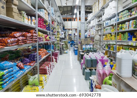 PAHANG, MALAYSIA - AUGUST 9,2017 : wholesale  variety brand of Liquid and powder detergent displayed on shelf at hypermarket in Malaysia