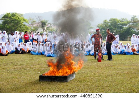 PAHANG, MALAYSIA: FEB 18,2014 :Firedrills training was held in one of the primary school at Kuantan, Pahang, Malaysia as learning to any effective emergency response.