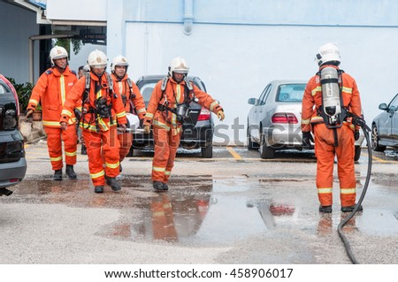 PAHANG, MALAYSIA: JULY 26,2016 :Firedrills training was held in one of the primary school at Kuantan, Pahang, Malaysia as learning to any effective emergency response.