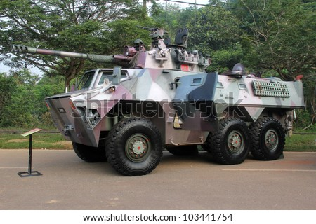 PAHANG, MALAYSIA-MAY 20:Armoured vehicle  Adnan were showcase at the Youth Festival May 20 2011 in Pahang, Malaysia. 1.9% of Malaysia's GDP is spent on the military