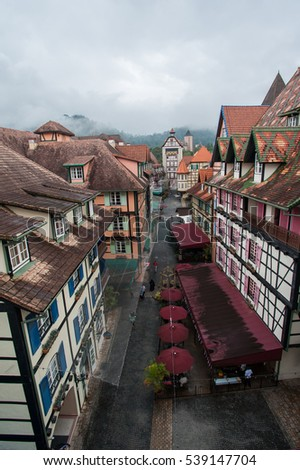 PAHANG, MALAYSIA - SEPTEMBER 9 2016: Cloudy view of Colmar Tropicale, Berjaya Hills, French themed resort in Pahang, Malaysia.