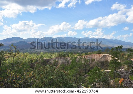 Pai Canyon trail on Mountain - stock photo