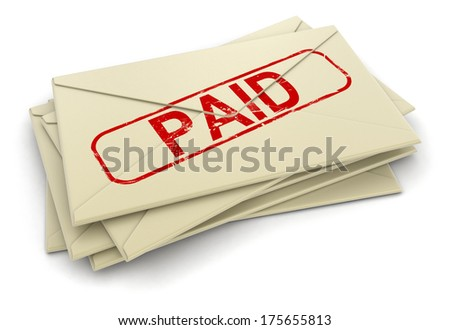 Paid letters  (clipping path included)