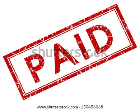 paid red square stamp - stock photo