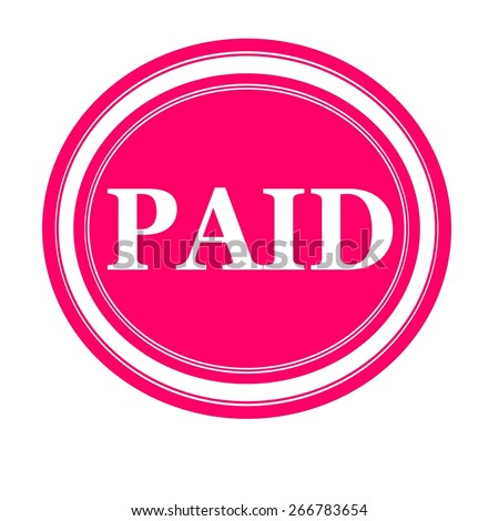 PAID white stamp text on pink - stock photo