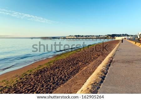 Paignton beach Torbay Devon England near tourist destinations of Torquay and Brixham - stock photo