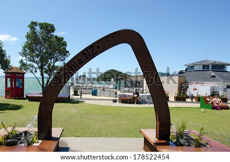 PAIHIA, NZ - JAN 07:Visitors in Paihia on Jan 07 2014.Paihia is the main tourist town in the Bay of Islands in the far north of the North Island of New Zealand. - stock photo