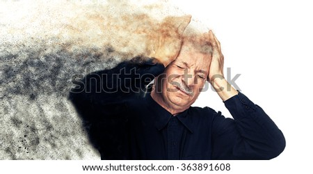Pain concept. Elderly man suffering from a headache on white backgroun