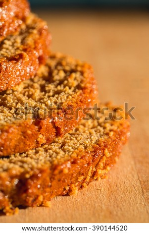 Pain d epices or French Honey Bread. Original Homemade Fresh Baked. Country, Still Life. Close up, Selective. - stock photo