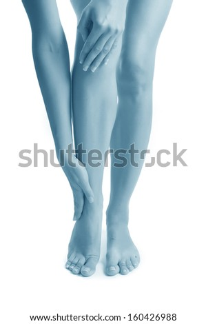 Pain in a joint and knee. sports trauma - stock photo