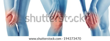 Pain in a knee. Sports trauma. Collage - stock photo
