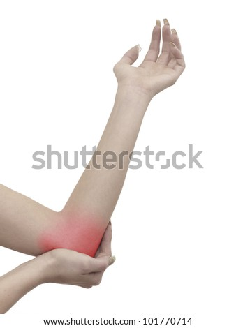 Pain in a woman elbow - stock photo