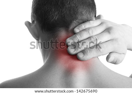 Pain in back.Injury concept.Isolated on white - stock photo