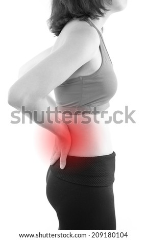 Pain in back with red alert accent - stock photo