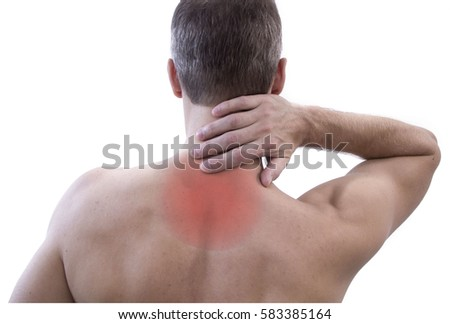 Pain in the human body. Isolated on white background. Close up of a man rubbing his painful neck.