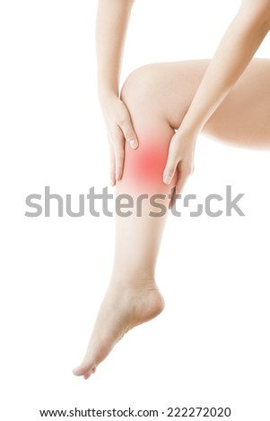 Pain in the leg. Massage of female foot.  Isolated on white background. - stock photo