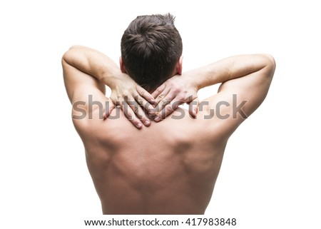Pain in the neck. Man with backache. Muscular male body. Isolated on white background. Middle part of the body - stock photo