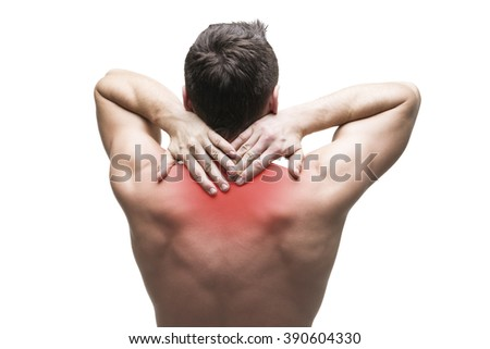 Pain in the neck. Man with backache. Muscular male body. Isolated on white background with red dot - stock photo