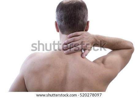 Pain in the neck. Man with backache. Muscular male body. Isolated white background with red dot Unrecognizable