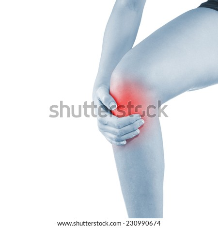 Pain in woman knee. Female holding hands on spot knee pain.