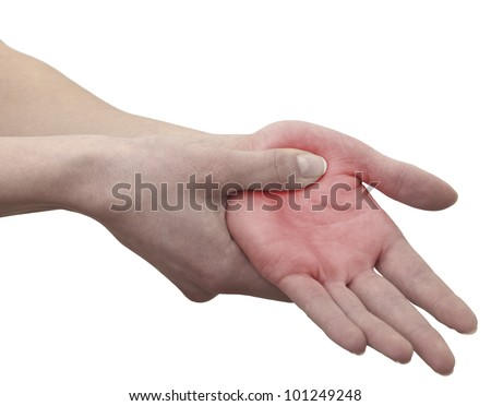 Pain in  woman palm. - stock photo