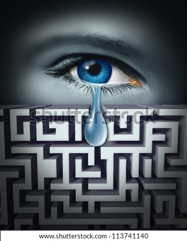 Pain management and dealing with human physical or psychological suffering with an eye crying a tear through a maze or labyrinth as a concept for finding solutions to emotional work or life stress. - stock photo