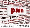 Pain medical poster design. Intense unpleasant feeling message background - stock photo