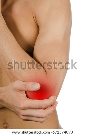 Pain of the elbow. Health problems. Sports injury.