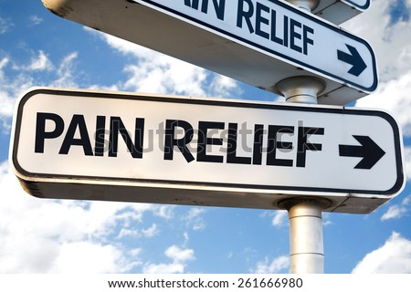 Pain Relief direction sign on sky background - stock photo