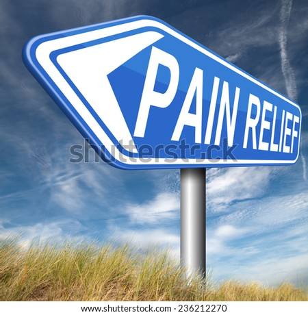 pain relief or management by painkiller or other treatment chronic back pain sign with text