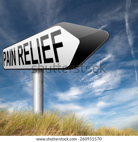 pain relief or management of migraine attack by painkiller or other treatment chronic back pain sign with text  - stock photo