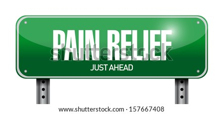 pain relief road sign illustration design over white - stock photo