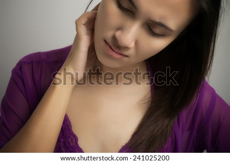 Painful back hurting a lot - stock photo