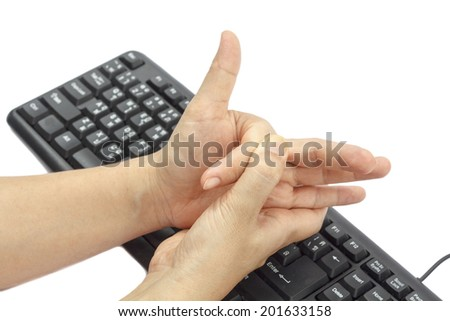 Painful finger due to prolonged use of keyboard and mouse. - stock photo