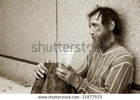Painful morning of the alcoholic. - stock photo
