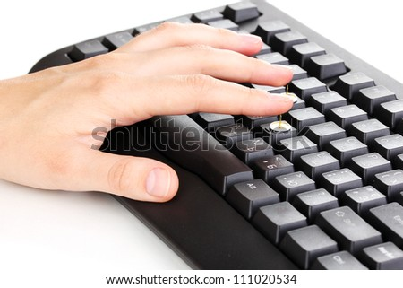 Painful typing on keyboard close-up - stock photo