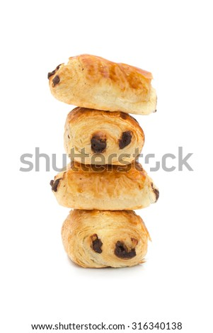 Pains au chocolat (french bakery products with chocolate) isolated on white background - stock photo