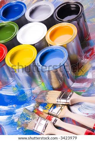 Paint and brush - stock photo