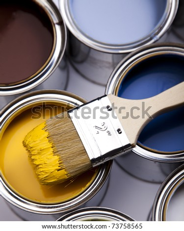 Paint and brush - stock photo