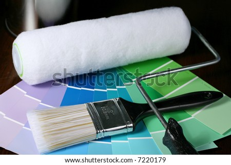 Paint Brush and Roller with Swatches